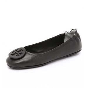 Size 6 Tory Burch Minnie Black Leather Flats